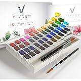 Watercolor Paint Set with 48 Premium Paints, Water Color Paint Set Includes 2 Artist Brushes, Palette, 140lb/300G Watercolor