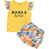 Kids Baby Girl Floral Outfits Letter Print Short Sleeve Shirt Floral Shorts 2PCS Summer Clothes