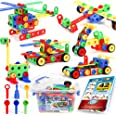(163-pieces) - 163 Piece STEM Toys Kit Educational Construction Engineering Building Blocks Learning Set for Ages 3, 4, 5, 6,