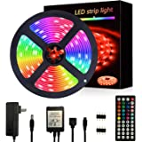 Segrasses 16.4ft 5050 RGB Led Strip Lights,5M 150 LEDs Rope Lights, IP20 Non Waterproof Color Changing with 20 Colors 8 Light