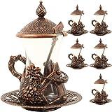 Alisveristime (Set of 6) Handmade Turkish Tea Water Zamzam Serving Set Glasses Saucer (Copper)