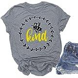 YEXIPO Bee Kind T Shirts Women Funny Inspirational Teacher Cute Graphic Tees Short Sleeve Blouse Tops