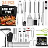 32PCS BBQ Grill Accessories Tools Set, Stainless Steel Grilling Tools with Carry Bag, Thermometer, Grill Mats for Camping/Bac
