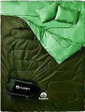Lander(ランダー) 寝袋 シュラフ 寝袋 2人用 車中泊 グッズ 車中泊 マット【枕付きで便利】La-sb1