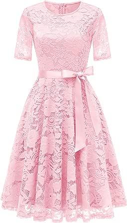 Dresstell(ドレステル) ワンピース ドレス 結婚式 パーティードレス 総レース レースワンピース 半袖 Aライン ひざ丈 二次会 お呼ばれ