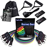 TheFitLife Exercise Resistance Bands with Handles - 5 Fitness Workout Bands Stackable up to 110 - 150 lbs, Training Tubes wit