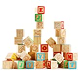 SainSmart Jr. Wooden ABC Alphabet Blocks Set, 40PCS Classic Wood Toy for Stacking Building Educational Learning, with Mesh Ba