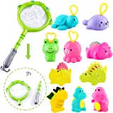 Sotodik 12 Pcs Bath Shower Toys Set for Baby with 10 Pcs Soft Cute Animals Float Squirt Bath Toys and 2in1 Fishing Net Tool,B