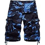 Basic Model Men's Camo Cargo Shorts Multi Pockets Camouflage Jogger Shorts