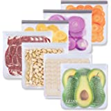 Reusable Gallon Freezer Bags - 7 Pack Reusable Food Storage Bags, Reusable Lunch Bags Leakproof Silicone & Plastic Free for M