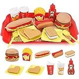 Sotodik おままごと 洋食セット お食事ごっこ遊び ハンバーガーごっこ おもちゃ 15点セット ファストフード お店屋さんごっこ キッチンセット 食べ物 デザート 子供用 教育おもちゃ 女の子 男の子 プレゼント