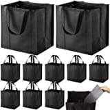 Set of 10 Reusable Grocery Bags Heavy Duty Shopping Bags Large Grocery Totes with Reinforced Bottom Super Sturdy Handles, Bla