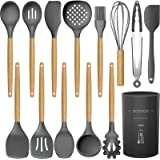 14 Pcs Silicone Cooking Utensils Kitchen Utensil Set - 446°F Heat Resistant,Turner Tongs,Spatula,Spoon,Brush,Whisk. Wooden Ha