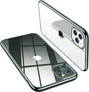 TORRAS iPhone 11 Pro Max ケース 6.5インチ 対応 TPU 透明 薄型「黄ばみなし」「X-SHOCK」耐衝撃 米軍MIL規格 SGS認証 ワイヤレス充電対応 アイホン11ProMaxソフトカバー(ミッドナイトグリーン)[ Shiny Series]