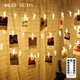 Twinkle Star 16.4 ft 40 Photo Clips String Lights Battery Operated & Remote Control Fairy String Lights with Clips for Hangin