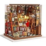 Fsolis DIY Dollhouse Miniature Kit with Furniture, Book Store Dollhouse 3D Wooden Miniature House, Sam's Book House Miniature