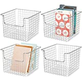 mDesign Metal Wire Storage Organizer, Holder Bin Basket - for Cube Furniture Shelving Organization for Closet, Entryway, Bedr