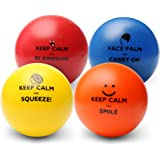 Keep Calm Funny Motivational Stress Balls | Hand Exercise Gift 4 Pack | Fidget Accessory for Stress Relief, Concentration, An