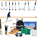 BRAVEWAY Slackline Kit Ninja Line Monkey Bars Kit Obstacle Course with 2 x 40-ft Slacklines Included 8 Accessories Outdoor Pl