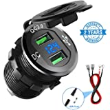 Quick Charge 3.0 Car Charger, CHGeek 12V/24V 36W Waterproof Dual QC3.0 USB Fast Charger Socket Power Outlet with LED Digital