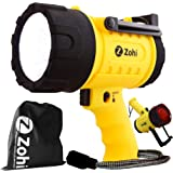 Zohi 1500 Lumen LED Waterproof Rechargeable Flashlight/Spotlight | 18 W | Detachable Red Light Filter | Yellow | Home and Car