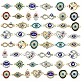 50pcs Alloy Mix Style Enamel Eye Charms Assorted Evil Eye Connector Rhinestone Diamond Evil Eye Link Charms for Jewelry Makin