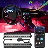 Govee Interior Car Lights, Car LED Strip Light Upgrade Two-Line Design Waterproof 4pcs 48 LED APP Controller Lighting Kits, M