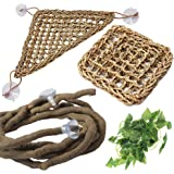 PIVBY Bearded Dragon Accessories Lizard Habitat Hammock Flexible Reptile Jungle Vines Leaves Decor with Suction Cups for Clim