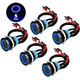 5Pcs 19mm 12V Waterproof ON Off Latching Push Button Switch with Wiring Harness and Blue LED Indicator Light, 24V Pre-Wired S