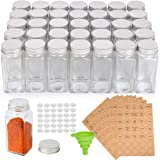 36 Pcs Glass Spice Jars, SXUDA 4oz Empty Square Spice Bottles with Shaker Lids and Airtight Metal Caps - 280 Spice Labels and