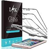 LϟK 3枚セット iPhone6 Plus/iPhone6S Plus 用 強化ガラスフィルム 5.5インチ 高透過率 最高硬度9H 飛散防止 ガイド枠付き