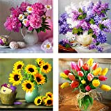Large 16X16inch 5D 4 Pack Full Drill Diamond Painting Dotz Art Supplies DIY Kits for Adults Kids Flower Floral Wall Decor