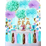 Mermaid Party Decorations Under The Sea Theme Purple Blue Mint Baby Shower Decorations Tissue Pom Poms First Birthday Decorat