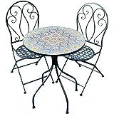 Patio Setting Naples Mosaic Metal 3 Piece Bistro Balcony Garden Furniture Outdoor Home Decor
