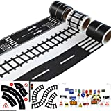 SODIAL Play Road Tape for Toy Cars and Trains 3 Rolls 4.8cmx5m Straight Curve Track Traffic Signs - Kids Gifts