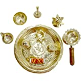 White Whale Gold Plated Brass Kuber Pooja Thali Set of 9 Pcs, Occasional Gift, Decorative Pooja Thali for Festival and Diwali