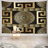 Wbluck Greek Key Tapestry, Wall Hanging Tapestry, Modern Geometric Greek Gold Wallpaper Psychedelic Tapestry Wall Decor for R