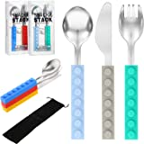 6 Pieces Cutlery Set Interlocking Block Stainless Steel Kids and Toddler Utensil with Silicone Handle Kids Silverware Toddler