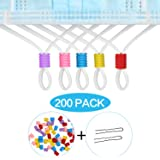 AMLY 200 Pcs Cord Locks Silicone Toggles for Drawstrings, Elastic Cord Rope Adjuster, Non Slip Stopper with Stringing Tool (M