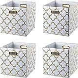 BAIST Cube Storage Bins,Fancy Foldable Canvas Decorative Gold Storage Cubes Bins Basket for Toys Clothes Books School Days La