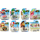 2017 Hot Wheels Set of 7 Super Mario 1/64 Character Cars Collectible Die Cast Toy Car Models