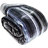 昭和西川 ふっくらあたたか 2枚合わせ毛布 シングル 140×200cm ボーダー柄 グレー 【厚手 2.4kgタイプ】 ふんわりとしたボリュームで心地よいぬくもり 高い保湿性 水洗いOK