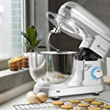 Ausbuy Stand Mixer, 900W 4.5L 6-Speed Tilt-Head Food Mixer, Kitchen Electric Mixer with Dough Hook, Wire Whip & Beater (Silve