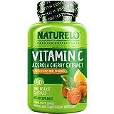 NATURELO Vitamin C with Organic Acerola Cherry Extract and Citrus Bioflavonoids - Vegan Supplement - Immune Support - 500 mg