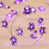 Halloween Costume Party Spooky Spider String Lights, Impress Life Purple 10ft 40 LEDs Battery Operated with Dimmable, Flicker