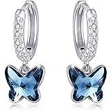 Butterfly Earrings, 925 Sterling Silver Butterfly Dangle Earrings Butterfly Jewelryfor Women Butterfly Huggies Butterfly Hoo