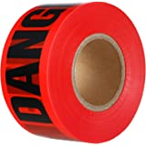 VICMORE Non-adhesive Sharp Red DANGER Tape Roll 3-Inch by 1000-Feet Heavy Duty 2 Mil Strong Barricade Taper Safety Caution Ta