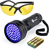 TaoTronics Black Light, 51 LEDs UV Blacklight Flashlights, Free UV Sunglasses and 3 Batteries Included, Detector for Dry Pets