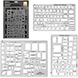 Nicpro Plastic Drafting Tools Architectural Templates, 3 PSC Geometry Template for CAD Drawing House Plan Furniture Kitchen,