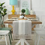 PHNAM Table Runner with Tassels 72 Inches Long Linen Cotton Coffee Dining Table Cloth Runners Non Slip for Home Kitchen Party